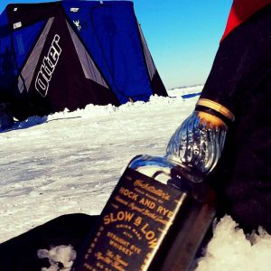 sipping whiskey for ice fishing