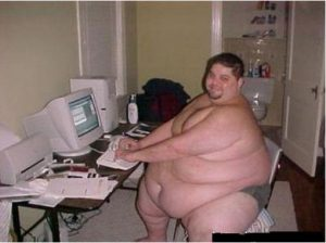 Big Guy on computer